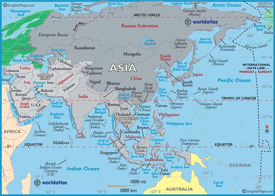 Worksheet. Large Map of Asia Easy to Read and Printable
