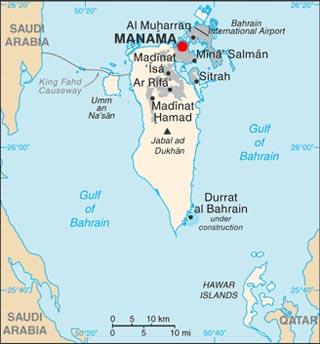 Bahrain latitude and longitude map