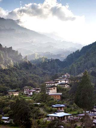 Village of Chendebji Set Among Forested Hills Between the Towns of Wangdue Phodrang and Trongsa, Bh