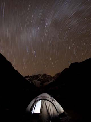 A Long Exposure Reveals the Earth Rotation Above Tents at Jhangothang