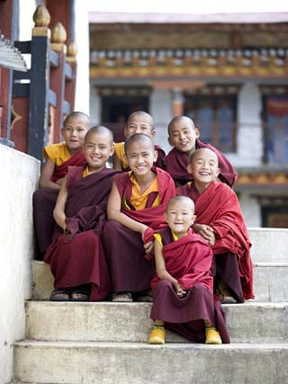 Group of Young Buddhist Monks, Karchu Dratsang Monastery, Jankar, Bumthang, Bhutan