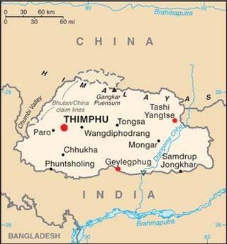 Bhutan latitude and longitude map
