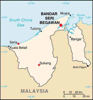 Brunei latitude and longitude map