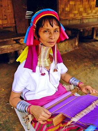 Portrait of a 'Long Necked' Padaung Tribe Woman Weaving on a Hand Held Loom, Mae Hong Son Province