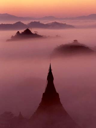 Pagoda in the Mist at Mrauk-U, Burma