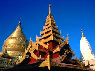Three Towers of Shwezigon Paya, Bagan, Mandalay, Myanmar (Burma)