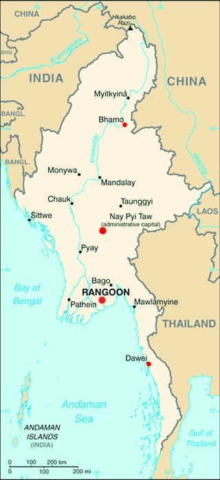 Burma latitude and longitude map