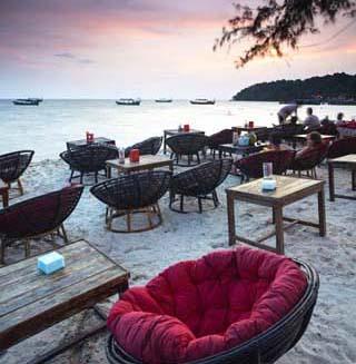 Beach Restaurants at Dusk on Ochheuteal Beach, Sihanoukville, Cambodia