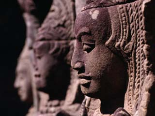 Detail of Head Carving of Seated Apsaras, or