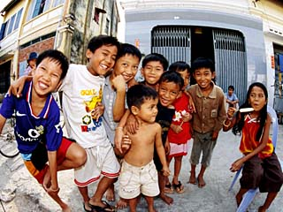 Group of Children in Street, Kampot, Cambodia