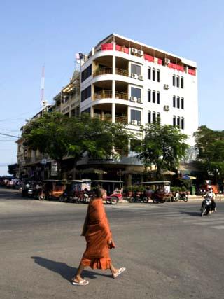 Monk on Street, Phnom Penh, Cambodia, Indochina, Southeast Asia