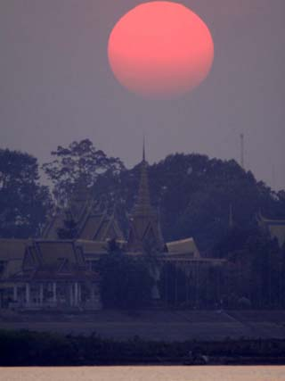 Sunset is Seen from A-Reyksat Along the Mekong River, Cambodia
