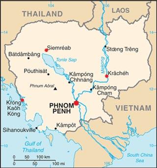 Cambodia latitude and longitude map
