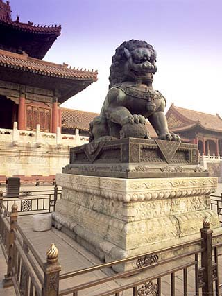 Lion Statue, Forbidden City, Beijing, China, Asia
