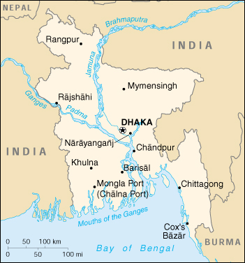 Bangladesh On Map Of Asia.Bangladesh Cia Map
