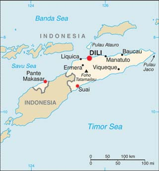 East Timor latitude and longitude map