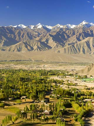 Indus Valley and Stok-Kangri Massif, Leh, Ladakh, Indian Himalayas, India, Asia