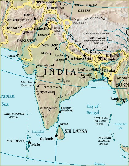 Terrain Map of India, Indian Subcontinent, Arabian Sea Map