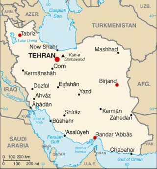 Iran latitude and longitude map