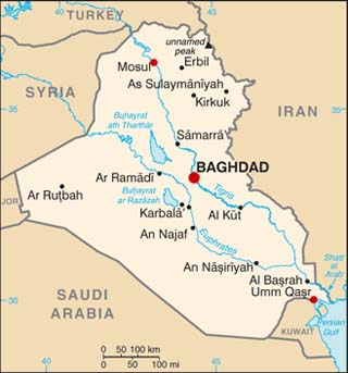 Iraq latitude and longitude map