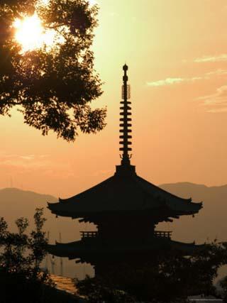 Sunset, Yasaka No to Pagoda, Kyoto City, Honshu, Japan