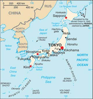 Japan latitude and longitude map