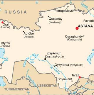 Kazakhstan latitude and longitude map