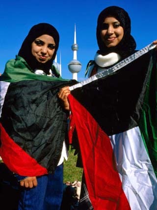 Girls with Kuwaiti Flags to Greet Amir of Kuwait, Kuwait