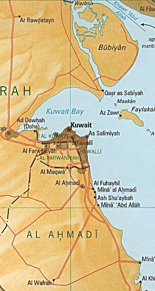 kuwait maps including outline and topographical maps