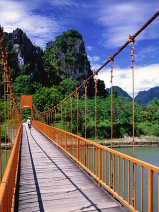 Footbridge Over Nam Sot River, Vang Vieng, Laos