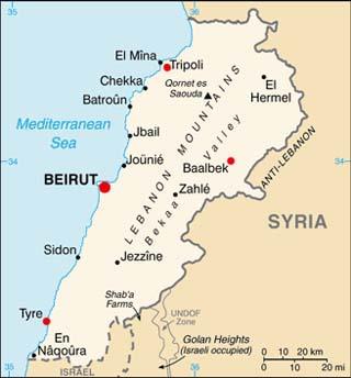 Lebanon latitude and longitude map