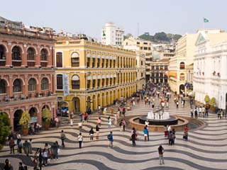 Famous Swirling Black and White Pavements of Largo Do Senado Square in Central Macau, China