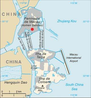 Macau latitude and longitude map