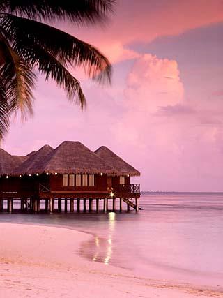 Beach and Water Villas at Sunset, Maldive Islands, Indian Ocean