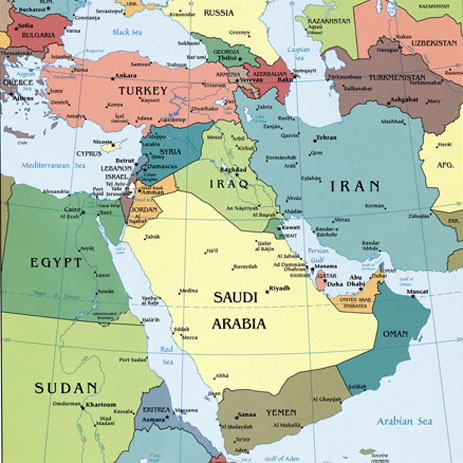 Middle East Outline Map - Outline Map of Middle East - by