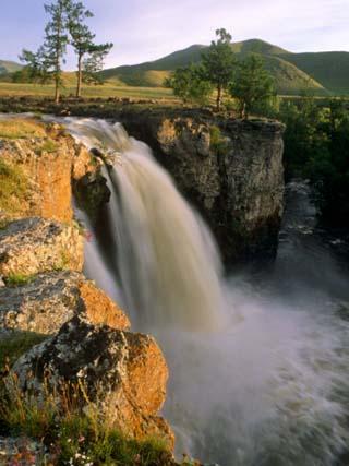 Karakorum, Ulaan Tsutgalan Waterfall on the Orkhon River, Mongolia