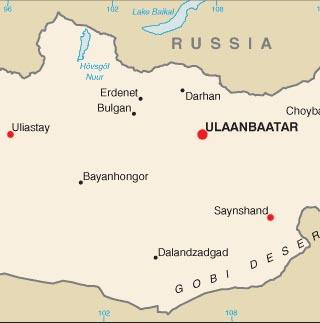 Mongolia latitude and longitude map