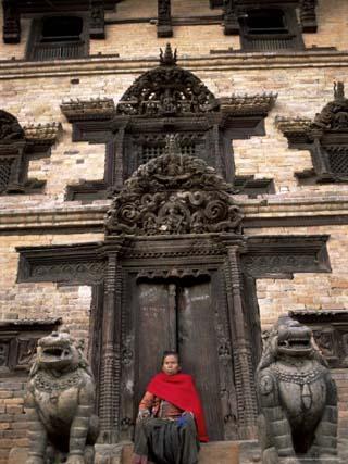 Elaborately Carved Doorway, North of Tachupal Tole, Bhaktapur (Bhadgaun), Kathmandu Valley, Nepal