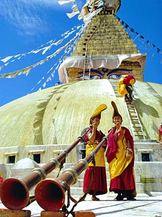 Buddhist Monks with Horns in Front of Stupa, Nepal