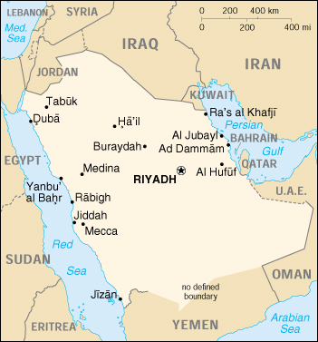 saudi arabia cia map