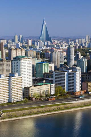City Skyline with Ryugyong Hotel and Taedong River, Democratic People's Republic of Korea, N. Korea