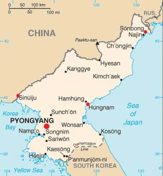 North Korea latitude and longitude map