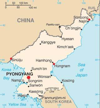 North Korea latitude and longitude map