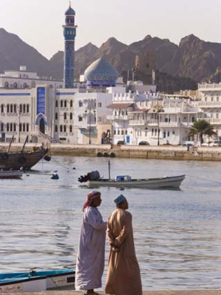 Corniche and Mutrah Mosque in the Early Morning, Mutrah, Muscat, Oman, Middle East