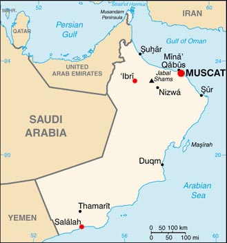 Oman latitude and longitude map