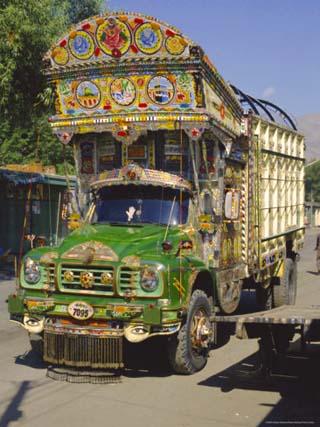 Typical Decorated Truck, Karakoram (Karakorum) Highway, Gilgit, Pakistan