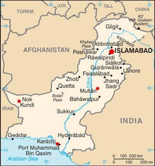 Pakistan latitude and longitude map