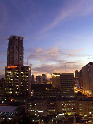 City Skyline at Sunset, Makati Business District, Manila, Philippines, Southeast Asia