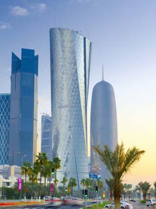 Qatar, Doha, Left to Right Palm Tower, Al Bidda Tower and Burj Qatar