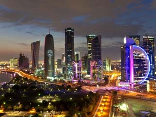 New Skyline of the West Bay Central Financial District, Doha, Qatar, Middle East